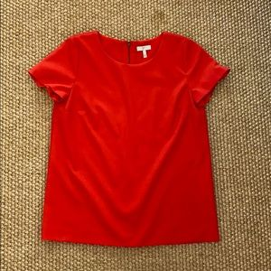 Short Sleeve Red Top with zipper detail on back